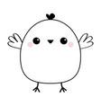 chicken bird head face line icon cute cartoon vector image