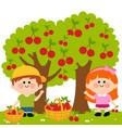 children picking cherries under a cherry tree vector image vector image