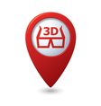 cinema glasses 3d icon red map pointer vector image vector image
