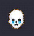 crying skull sticker vector image vector image