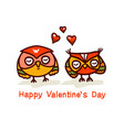cute owls couple valentines day hand drawn vector image vector image