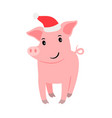 cute pig in santa hat vector image vector image