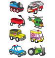 cute vehicle transportation cartoon vector image