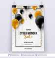 cyber monday sale background with air balloons vector image