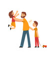father son and daughter having fun together dad vector image vector image