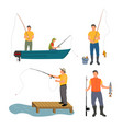 fishing process isolated on white banner vector image vector image