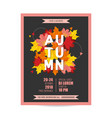 flyer invitation with autumn leaves vector image vector image