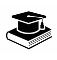 graduation cap and book icon vector image vector image