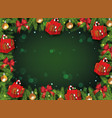 green christmas background template with border of vector image vector image