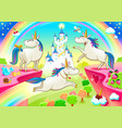 group funny unicorns with fantasy castle vector image
