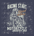 grunge style vintage motorcycle racing typography vector image