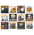 halloween witch ghosts pumpkins bats and skull vector image vector image