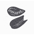 Hand drawn mussels hipster silhouette Handwritten vector image