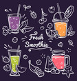 hand drawn smoothies cup with detox drinks vector image