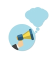 Hand holding a yellow megaphone with bubble vector image vector image