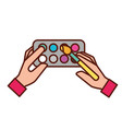 hands holding brush artistic color palette vector image