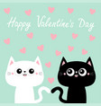 happy valentines day black white cat kitty kitten vector image