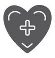 heart with cross glyph icon medicine and vector image