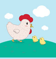 hen and kids vector image