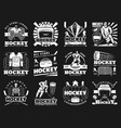 ice hockey sport monochrome icons vector image vector image