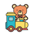kids toy teddy bear and plastic train toys vector image vector image