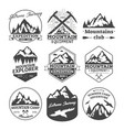 landscape icons of mountains or hills badges vector image vector image