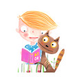 little kid and cat with book vector image vector image
