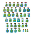 Magic font Green letters in magical flasks vector image vector image