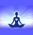 meditation woman silhouette on blue background vector image