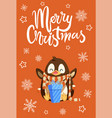 merry christmas penguin with presents in boxes vector image vector image