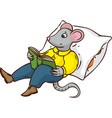 mouse with book and pillow vector image vector image