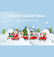 origami paper art christmas party on train vector image vector image