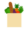 paper bag with products flat icon isolated vector image vector image