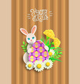 papercut happy easter card with rabbit vector image