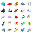 publicity icons set isometric style vector image vector image
