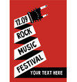 rock music poster with hand billboard template vector image
