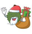 santa with gift durian mascot cartoon style vector image vector image