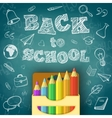 School supplies and greeting text vector image vector image
