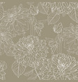 seamless pattern olive line dahlia flowers vector image vector image
