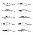 set of a black slhouette car on white background vector image vector image