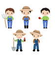 set of farmers set of farmers vector image