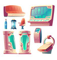 set of futuristic equipment for hibernation vector image