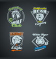 set of vintage wild animal retro logos colored vector image