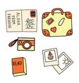 set summer vacation icons postcard vector image