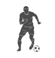silhouette soccer player quick shooting a ball vector image vector image
