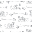 Summer seamless pattern with funny snails vector image