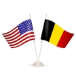 table stand with flags belgia and usa vector image vector image