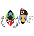 two cartoon birds vector image vector image