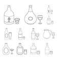 types of alcohol outline icons in set collection vector image