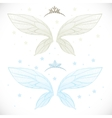 Winter fairy wings with tiara bundled isolated on vector image vector image